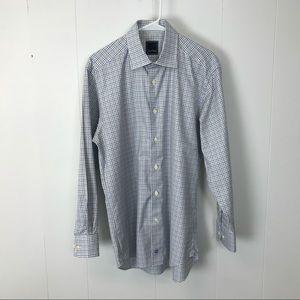 David Donahue men's plaid dress shirt 15.5 32/33